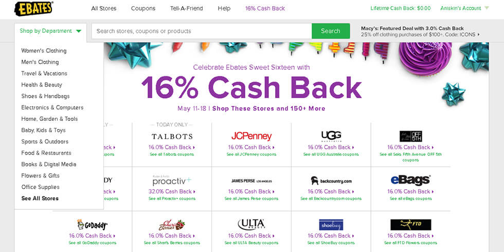 Ebates - one of the most popular cash back sites