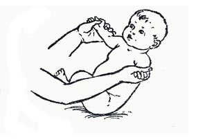Pull on mom's fingers from a lying position to a sitting position