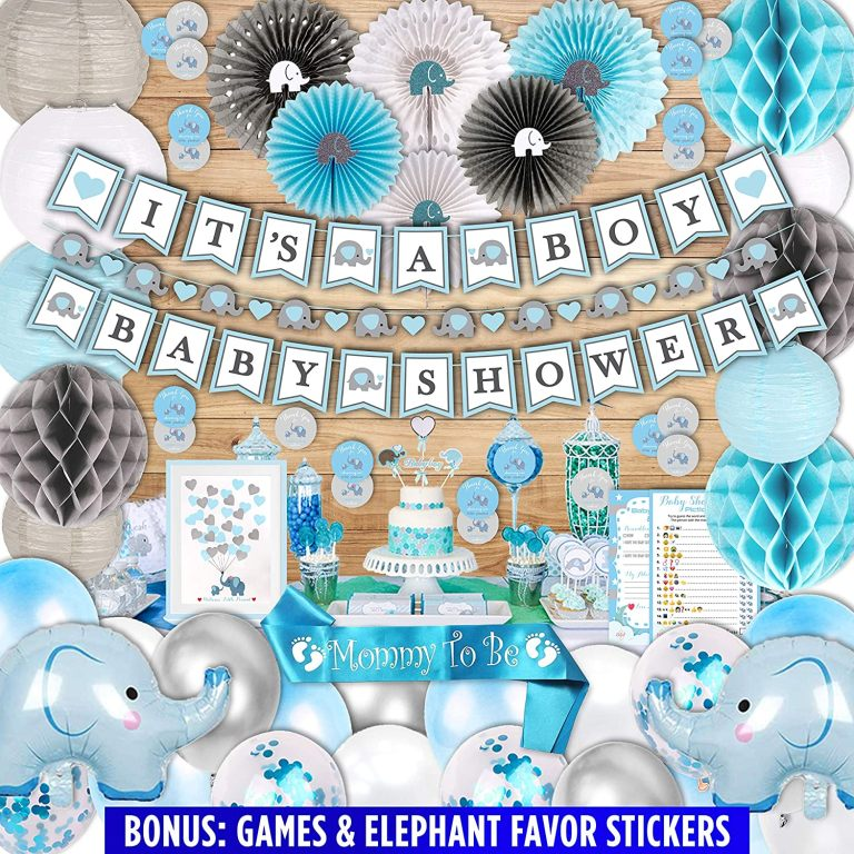 Blue Elephant Baby Shower Decorations